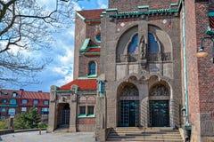 对Engelbrekts教会的入口在斯德哥尔摩,瑞典 免版税库存照片