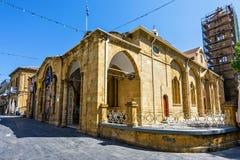 对Faneromeni广场和教会的白天宽视图 库存照片