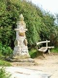 对flamborough头沿海道路灯塔的Bridlington 库存照片