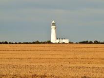 对flamborough头沿海道路灯塔的Bridlington 库存图片