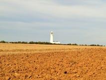对flamborough头沿海道路灯塔的Bridlington 图库摄影