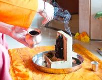 对Ganesh阁下的Puja在宗师期间Purnima节日  免版税库存照片