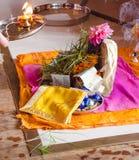 对Ganesh阁下的Puja在宗师期间Purnima节日  图库摄影