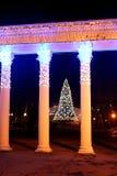 对Gorkyi公园的入口有新年装饰和圣诞树的,文尼察州,乌克兰 免版税库存照片