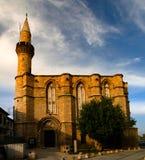 对Haydarpasa Cami清真寺, Lefcosa,塞浦路斯的外视图 库存照片