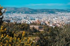 对Hephaestus寺庙的看法从上城,雅典,希腊 库存照片