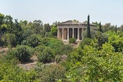 对Hephaestus寺庙的看法在雅典,希腊 图库摄影