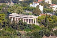 对Hephaestus寺庙的看法从上城,雅典,希腊 免版税库存照片