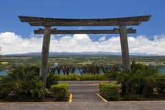 对Hilo的洋锋公园的入口 免版税图库摄影