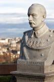 对Janiculum的雕象演说者头部特写在罗马,意大利 Serafini将军 免版税库存照片