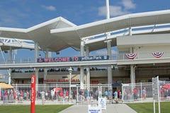 对JetBlue公园的入口在迈尔斯堡,佛罗里达 免版税库存照片