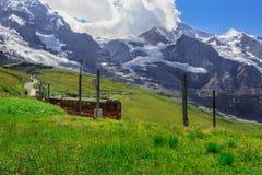 对Jungfraujoch -克莱茵沙伊德格的火车 图库摄影