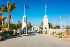 对Kalithea的入口与喷泉罗得岛,希腊 免版税库存图片