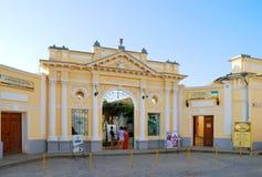 对Karaite kenassas的入口 叶夫帕托里亚 免版税图库摄影