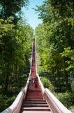 对Khao kradong火山或Khao Kradong森林公园的楼梯 在武里喃府,泰国 免版税库存照片