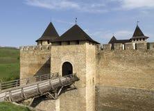 对Khotyn堡垒的门,乌克兰 图库摄影