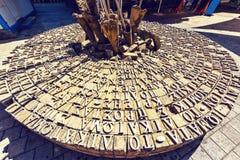 对Ledra街道交叉点纪念碑的白天视图 图库摄影