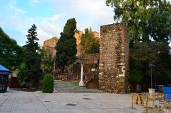 对MÃ ¡ laga Alcazaba的入口在西班牙 库存图片