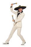 对maracas负的衣服的滑稽的墨西哥人被隔绝  免版税库存图片
