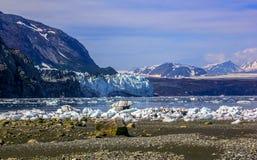 对Margerie的一张视图和从Tarr入口的全部和平的冰川 免版税库存照片