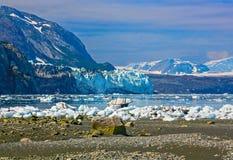对Margerie的视图和从Tarr入口的全部和平的冰川, 库存照片