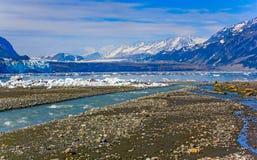 对Margerie的视图和从Tarr入口的全部和平的冰川, 免版税库存图片