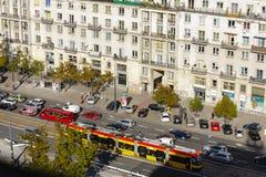 对Marszalkowska街,华沙的鸟瞰图 图库摄影