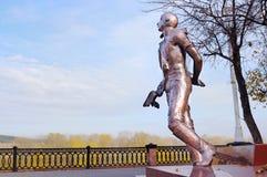 对Martemyanov体育飞行员纪念碑在克麦罗沃市 库存图片
