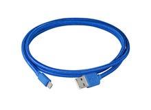 对miniusb缆绳的蓝色编线usb 库存图片