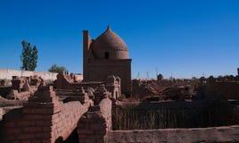 对Mizdakhan公墓, khodjeyli,卡拉卡尔帕克斯坦自治共和国,乌兹别克斯坦的全景视图 免版税库存图片