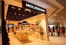 对Moleskine豪华商店的入口有笔记本、日志和写生簿的 库存照片
