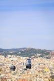 对Montjuic小山,巴塞罗那,西班牙的缆车 库存图片