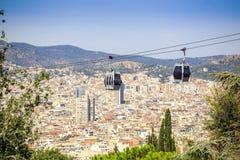 对Montjuic小山,巴塞罗那,西班牙的缆车 免版税库存图片