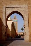 对Moulay El Yazid清真寺的门 在马拉喀什 库存图片