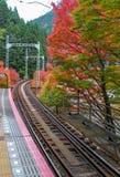对Mt Kurama的铁路 库存图片