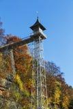 对Ostrau的历史巴德尚道电梯在撒克逊人的瑞士 库存图片
