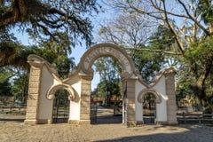 对Passeio Publico公园-库里奇巴,巴拉那,巴西的入口 库存照片