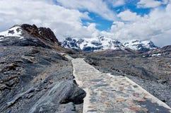 对Pastoruri冰川的方式在山脉布朗卡,北秘鲁 库存照片