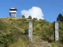 对Poon小山,尼泊尔的台阶 库存图片