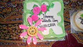 对ravindra的生日蛋糕 库存照片