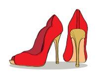 对s穿上鞋子妇女 库存照片
