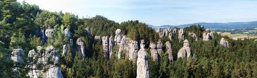 对sandrock形成Kapela的独特的看法在漂泊天堂-捷克共和国 库存照片