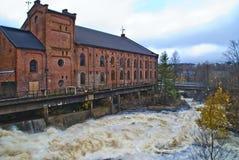 对saugbrugs纸工厂的补白岗位 免版税库存图片