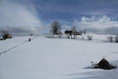 对Sirnea,罗马尼亚的冬天故事 库存图片