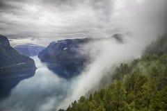 对Sognefjord的剧烈的看法在挪威 库存照片