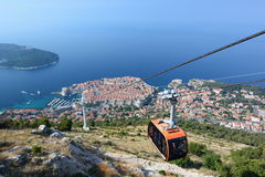 对Srd小山的缆车 杜布罗夫尼克市 克罗地亚 库存照片