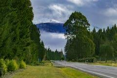 对te anau镇南土地新西兰的农村场面路边 免版税图库摄影