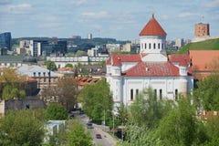 对Theotokos的大教堂的看法与Gediminas塔和小山的在背景在维尔纽斯,立陶宛 免版税库存图片