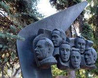 对TU-144航空器的乘员组的纪念碑,在1977年6月3日的勒布尔热被伤害,在新处女公墓在莫斯科 免版税库存照片