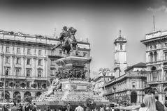 对Victor伊曼纽尔II,广场中央寺院,米兰,意大利国王的纪念碑 免版税库存照片